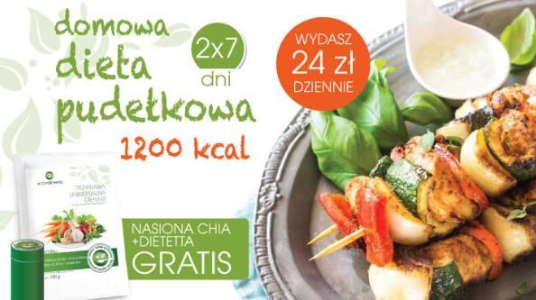 Dieta pudełkowa dostępna na stronie http://e-condimenta.eu/pol_m_Diety_Domowa-Dieta-Pudelkowa-178.html trwa 14 dni (2x7) - w tym przypadku zawiera tylko 1200kcal dziennie.