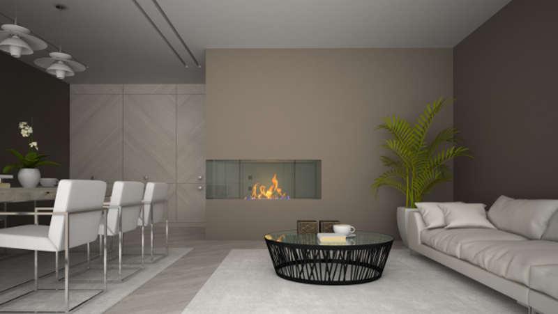 nowoczesny kominek z kratkami w salonie